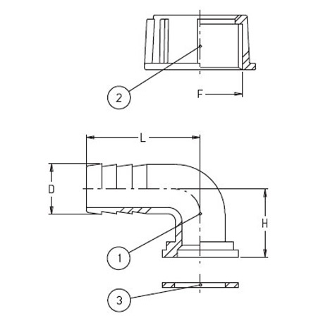 flat seat hose tail for fly nut